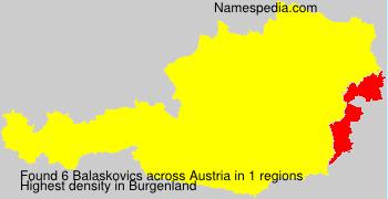 Familiennamen Balaskovics - Austria