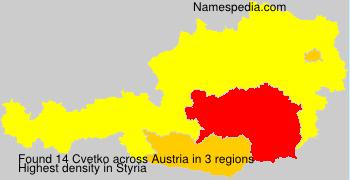 Surname Cvetko in Austria