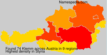 Surname Klemm in Austria