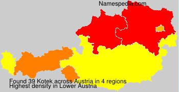 Familiennamen Kotek - Austria