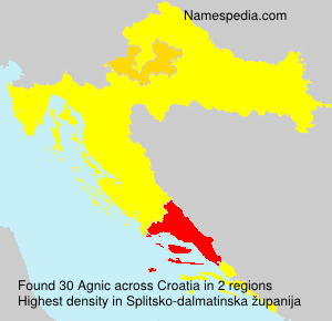 Surname Agnic in Croatia