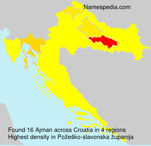 Surname Ajman in Croatia