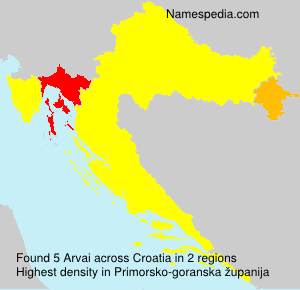 Surname Arvai in Croatia