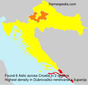 Surname Astic in Croatia