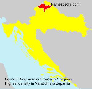 Surname Avar in Croatia
