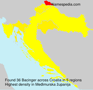 Surname Bacinger in Croatia