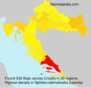Surname Bajic in Croatia
