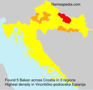 Surname Bakan in Croatia