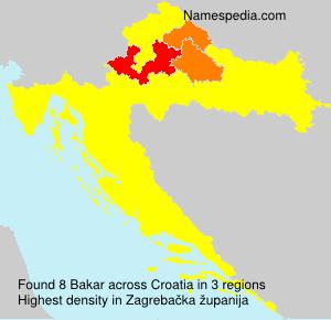 Surname Bakar in Croatia