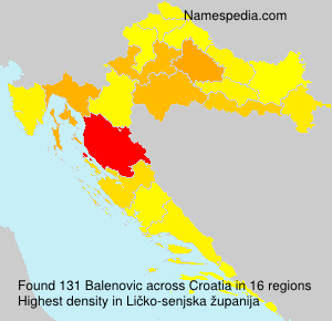 Surname Balenovic in Croatia