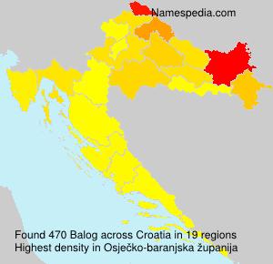 Surname Balog in Croatia