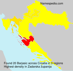 Surname Barjasic in Croatia