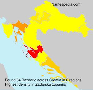 Surname Bazdaric in Croatia