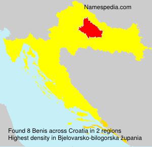 Surname Benis in Croatia