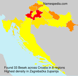 Surname Besek in Croatia