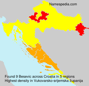 Surname Besevic in Croatia