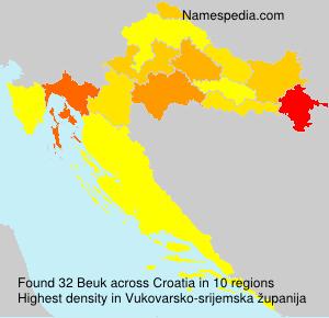 Familiennamen Beuk - Croatia