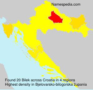 Familiennamen Bilek - Croatia