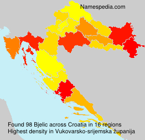 Surname Bjelic in Croatia