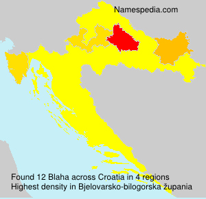 Surname Blaha in Croatia