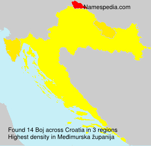 Surname Boj in Croatia