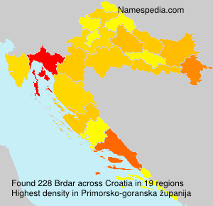 Surname Brdar in Croatia