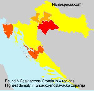 Familiennamen Ceak - Croatia