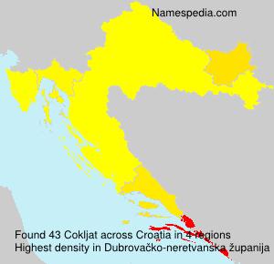 Surname Cokljat in Croatia