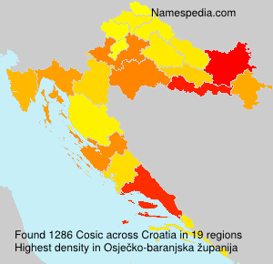 Surname Cosic in Croatia