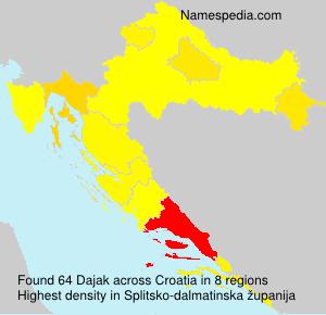 Surname Dajak in Croatia