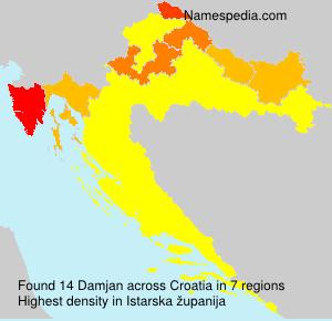 Surname Damjan in Croatia