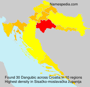 Surname Dangubic in Croatia
