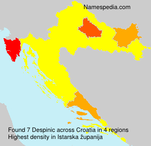 Surname Despinic in Croatia