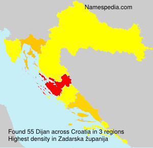 Surname Dijan in Croatia