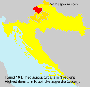Surname Dimec in Croatia