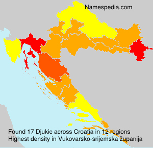 Surname Djukic in Croatia