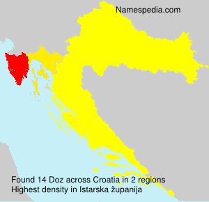 Surname Doz in Croatia