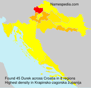 Surname Durek in Croatia