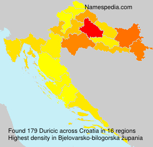 Surname Duricic in Croatia