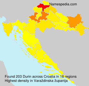 Surname Durin in Croatia