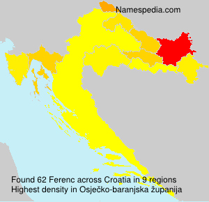 Surname Ferenc in Croatia