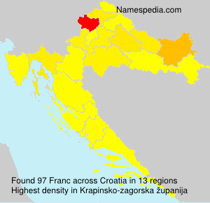 Surname Franc in Croatia