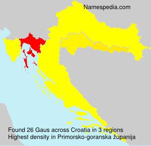 Familiennamen Gaus - Croatia