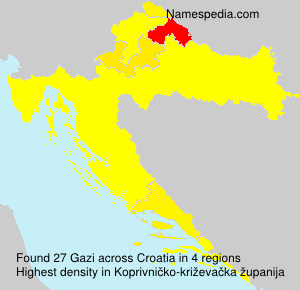 Surname Gazi in Croatia