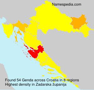 Familiennamen Genda - Croatia