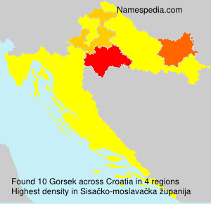 Surname Gorsek in Croatia