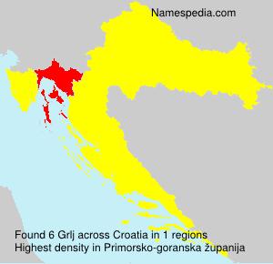 Surname Grlj in Croatia