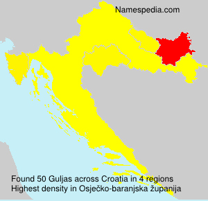 Surname Guljas in Croatia