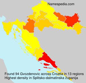 Surname Gvozdenovic in Croatia