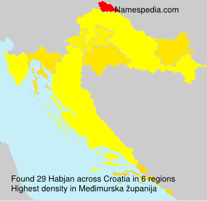 Surname Habjan in Croatia